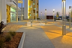 Bomanite Integral Color was added into over 132,000 SF of decorative concrete paving to create uniformity throughout, which means the color will remain the same as the concrete wears and the two-tone checkerboard pattern is a beautiful feature at the Tanger Outlets in Daytona Beach, FL.