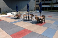 I love the vibrant pops of color that were incorporated into this Bomanite Sandscape Texture decorative concrete because the distinctive stain pattern adds beautiful detail to the hardscape to create a unique aesthetic.