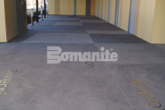 Bomanite Sandscape Texture Exposed Aggregate was placed here by our colleague Bomanite of Tulsa to create an artistic and decorative concrete hardscape at the Tulsa County Family Center for Juvenile Justice and their utilization of several different colors of gray Bomanite Con-Color provided a welcoming exterior space and entrance to the building.