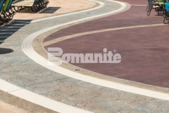 Featured here is decorative concrete decking that was created using Bomanite Imprint Systems, including multiple Bomacron patterns that integrate perfectly to add beautiful contrast and dimensional detail throughout the Castaway Island water feature in Canobie Lake Park.
