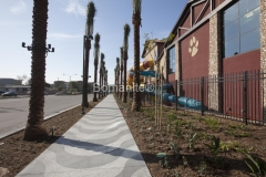 Bomel Construction installed Bomanite Bomacron stamped concrete to create this decorative concrete walkway, adding a distinctive design touch to the exterior hardscape at Great Wolf Lodge.