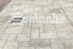 Bomanite stamped concrete in the Bomacron Ashlar Slate pattern was installed here at the Tower Square pavilion by Connecticut Bomanite Systems to create a decorative and durable surface.
