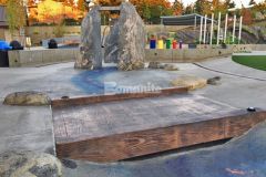 Downtown Bellevue Park boasts a unique and interactive play area with a variety of hardscape surfaces, including this Bomanite Imprint Systems stamped concrete bridge that was installed by our associate Belarde Company and features the Bomacron 12-inch Boardwalk pattern, which adds a distinct and detailed element of design to the space.
