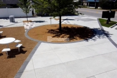 This Bomanite Bomacron Sandstone Texture accent paving was perfect to create definition and delineation in this space, providing a stunning Cobblestone Gray stamped concrete hardscape that complements the overall design aesthetic at Owasso's Redbud Festival Park.