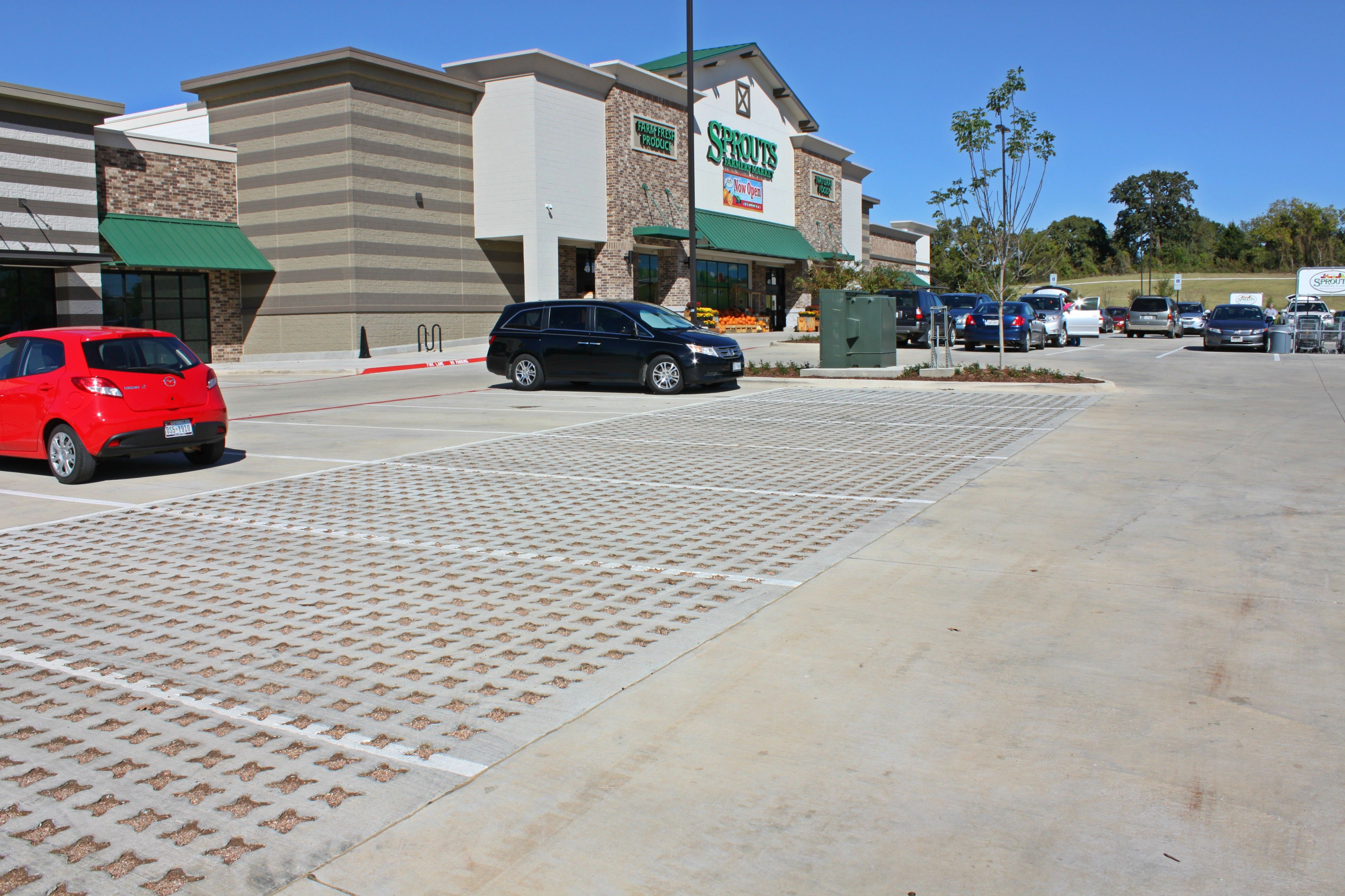 Sprouts Farmers Market Store in Denton Texas Installed a Grasscrete Stone Filled pervious concrete parking lot for low maintenance and to control storm water