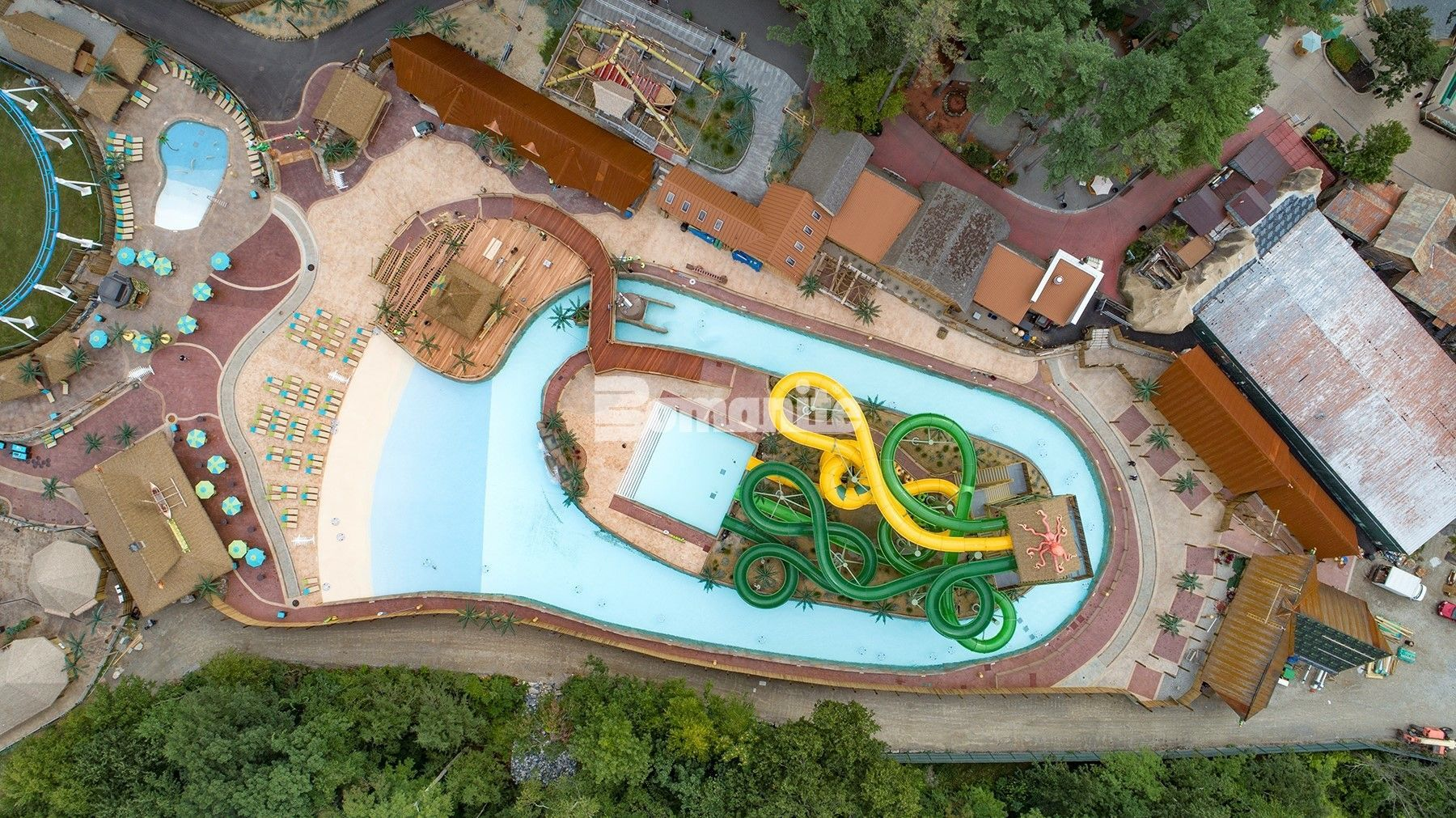 Canobie Lake Park Castaway Island Expansion in Salem, NH using Bomanite Imprint Systems with Bomacron and multiple patterns installed by Harrington Bomanite.
