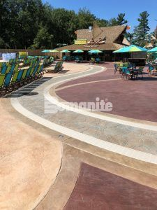 2018 Bomanite Outstanding Project Grand Award and the 2018 Best Imprint Systems Gold Award winning project at Canobie Lake Park at Castaway Island using Bomanite Imprint Systems with multiple Bomacron Patterns.