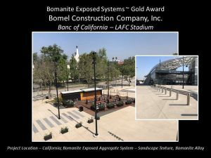 Banc of California LAFC Stadium by Bomel Construction using Bomanite Exposed Aggregate with Bomanite Sandscape Texture and Bomanite Alloy systems is a Bomanite Gold Award winner for 2018.