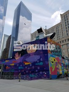 Subway entrance to World Trade Center Tower Two surrounded by Bomanite Exposed Aggregate Systems using Bomanite Alloy decorative concrete.