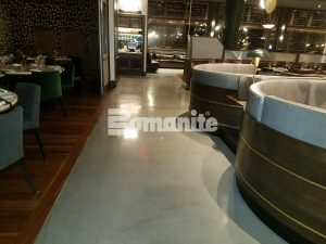 Expansive view of Bomanite Decorative Concrete Bomanite Modena SL Custom Polished Concrete Floors installed at Angeline by Michael Symon restaurant located in the Borgata Hotel Casino and Spa in Atlantic City.