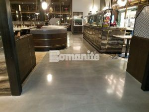 Near the salad bar at Angeline by Michael Symon, the Iron Chef, highlighting the Bomanite Decorative Concrete Bomanite Modena SL Custom Polished Concrete Floors located located in the Borgata Hotel Casino and Spa in Atlantic City.