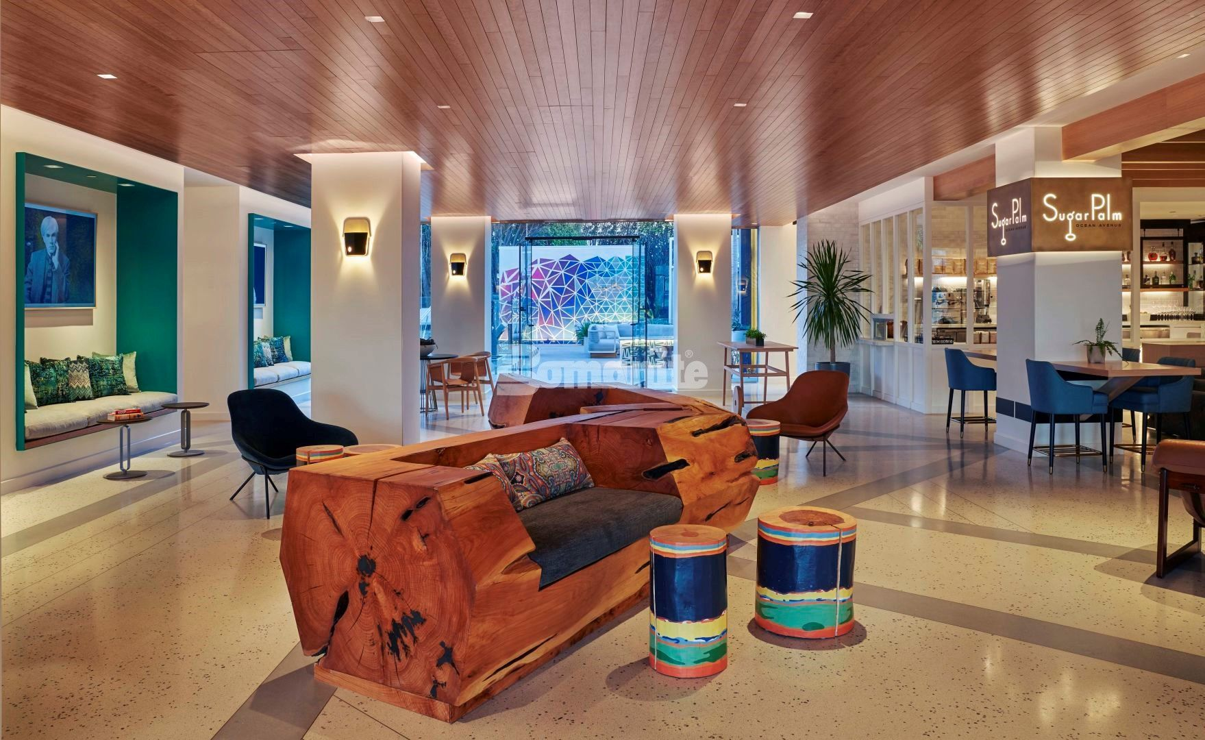 Lobby of the Viceroy Santa Monica located in Santa Monica, CA, completes their renovation featuring decorative concrete custom flooring with Bomanite Custom Polishing Systems using Bomanite Modena SL installed by Heritage Bomanite of Fresno, CA.